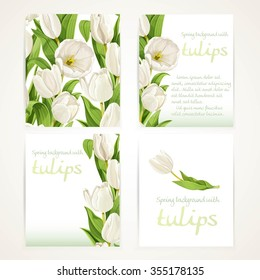 White tulips on four vertical blank banners set 1