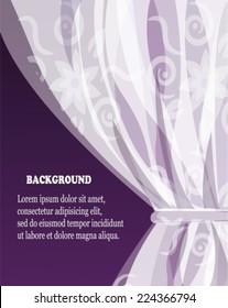 white tulle curtain with a pattern on a violet dark background