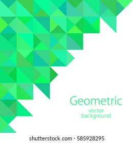 white turquoise geometric abstract illustration business background, vector, triangle, polygon graphics