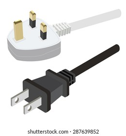 White uk electric plug and black usa plug vector illustration. Plug in. Plug icon