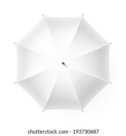White umbrella,  top view. Vector.
