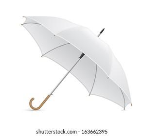 white umbrella vector illustration isolated on background - Shutterstock ID 163662395