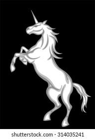 white unicorn in black background.
