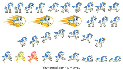 White Unicorn Game Sprites. Suitable for side scrolling, action, adventure, and endless runner game.