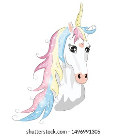 White unicorn head with mane and horn on white background.