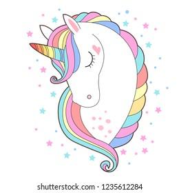 White unicorn head vector illustration. Cute pony face with rainbow hair