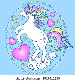 White unicorn on a cloud with hearts. Composition in an oval frame made of stars. Children's design. For prints, posters, postcards, stickers, signs, etc. Vector