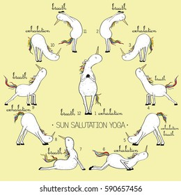White unicorn practices yoga in the morning