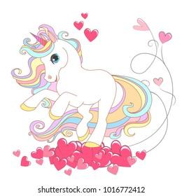 White Unicorn with rainbow hair vector illustration for children design. Cute fantasy animal. Love background
