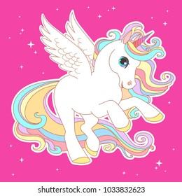 White unicorn rainbow hair vector illustration for children design.  White wings. Cute fantasy animal