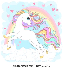 White Unicorn with rainbow hair vector illustration for children design. Cute fantasy animal. Isolated