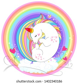 White unicorn rainbow hair. Vector illustration for baby t-shirt print design, element for children's clothes