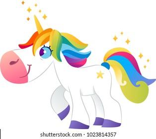White unicorn with rainbow mane on white background