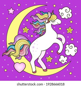 A white unicorn with a rainbow mane on a crescent moon. Children's illustration. For the design of postcards, prints, posters. stickers, badges, etc. Vector