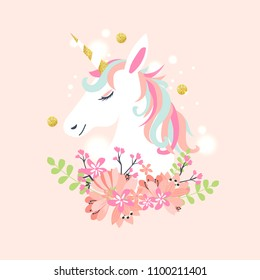White unicorn vector head with mane and horn on starry background.