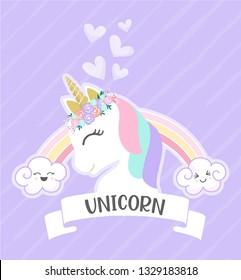 White Unicorn vector illustration for children design with Cute Rainbow. Isolated. Cute fantasy animal