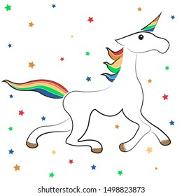 White unicorn vector on white background  and stars