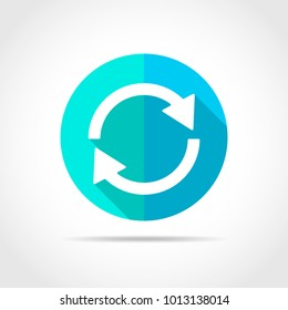 White update in flat design with long shadow. Vector illustration. Simple update icon on blue round button.
