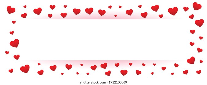 white valentines banner with red hearts frame