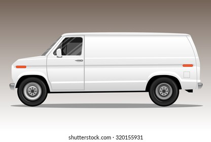 White van with blank space for text or logo. Detailed vector illustration.