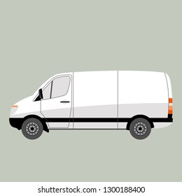 white van car, vector illustration , flat style, profile view