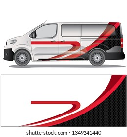 white van car wrap with an elegant red stripe graphic design. file is editable and ready to print
