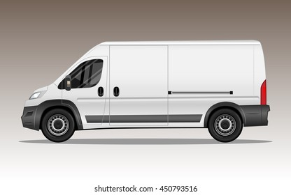 White van with large blank space for text or logo. Detailed vector illustration.