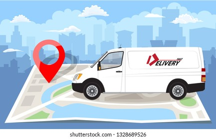 White van over folded flat map and red pin. Cityscape background. Vector illustration.