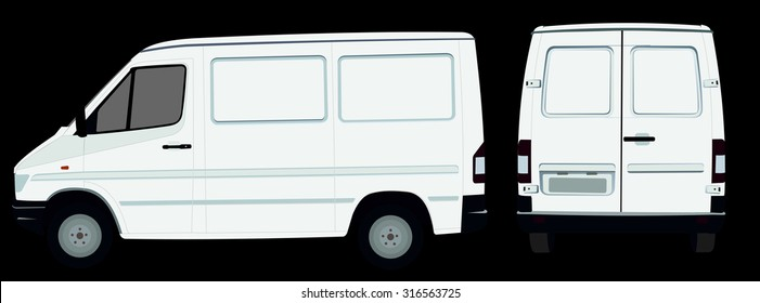 White van in a vector sideways and behind