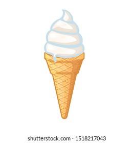 white vanilla ice cream with tasteful flavour melt in cone illustration