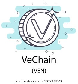 White vechain cryptocurrency coin isolated on white background