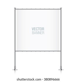 White vector advertising banner. Square banner, with metal construction isolated on background.