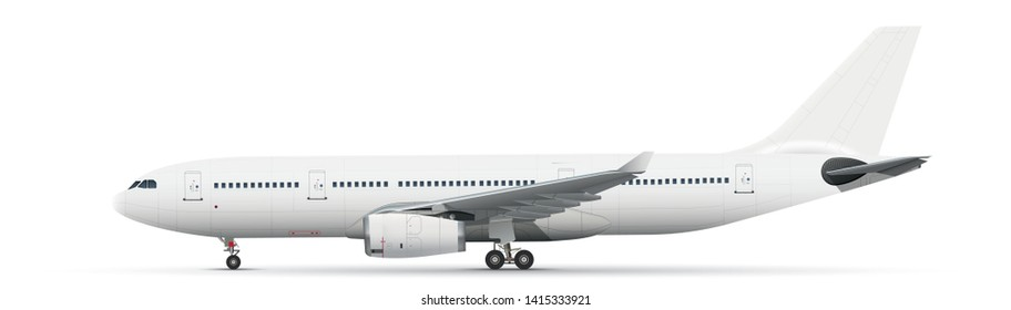 White vector airliner with landing gear on white background
