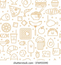 White vector background with beige line icons of  restaurant and fast  food like coffee, pizza, eggs, beer, wafer, burger  and ice cream. Seamless pattern.