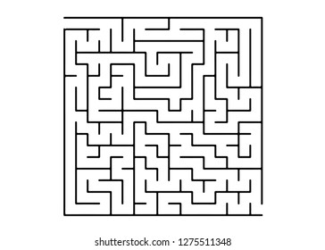White vector background with a black maze. Abstract illustration with maze on a white background. Concept for pazzle, labyrinth books, magazines.
