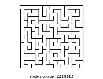 White vector background with a black maze. Modern illustration with maze on a white backdrop. Concept for pazzle, labyrinth books, magazines.