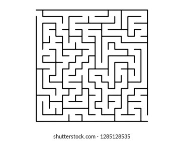 White vector background with a black maze. Simple illustration with a maze on a white background. Concept for pazzle, labyrinth books, magazines.