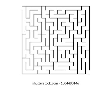 White vector background with a black maze. Maze design in a simple style on a white background. Concept for pazzle, labyrinth books, magazines.