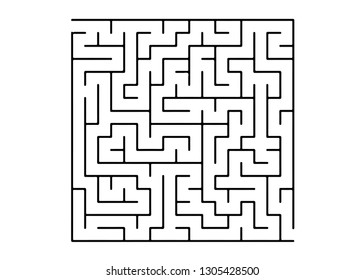 White vector background with a black maze. Black and white maze in a simple style. Concept for pazzle, labyrinth books, magazines.