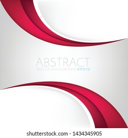 White vector background with red curve line and space for design