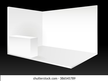 white vector blank exhibition trade show booth