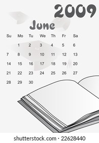 white vector, calendar for 2009 with note book