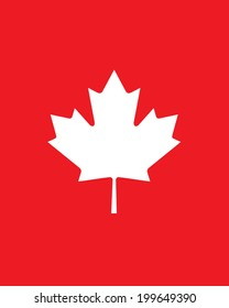 White vector Canadian maple leaf set against a red background