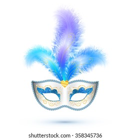White vector carnival mask with blue feathers and golden glitter isolated on white background