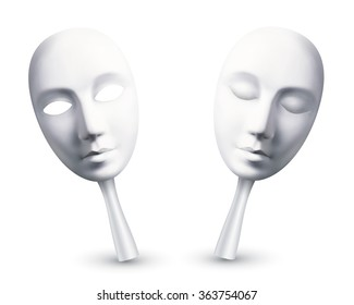 White vector carnival masks with open and closed eyes