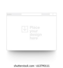 White vector clay render browser mock up isolated on white background. Origami paper material template with realistic drop shadow.