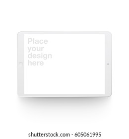White vector clay render digital tablet mock up isolated on white background. Origami paper material template with realistic drop shadow.
