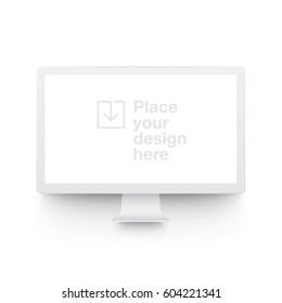 White vector clay render monitor mock up isolated on white background. Origami paper material template with realistic drop shadow.