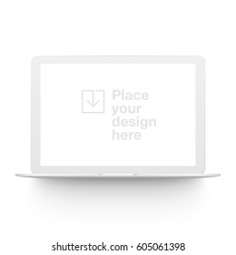 White vector clay render notebook mock up isolated on white background. Origami paper material template with realistic drop shadow.