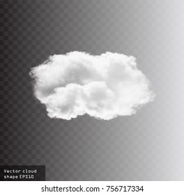 White vector cloud isolated over transparent background, realistic cloud shape, vector cloud template